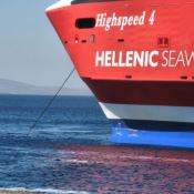 Nose of a big Greek Ferry and blue sea