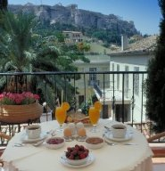 The view from my morning breakfast to the Acropolis of Athens