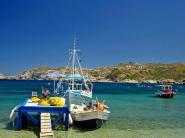 Agia Pelagia beach has white sand giving clear turquoise waters