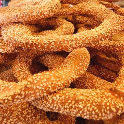 Koulouria bread snacks on a street corner in Greece