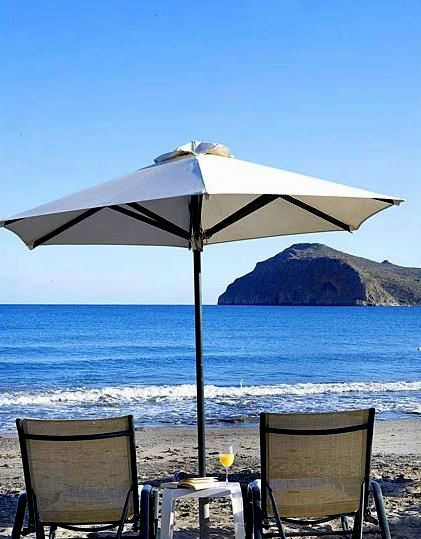 Thalassa Beach Resort sits directly on Agia Marina Beach west of Chania
