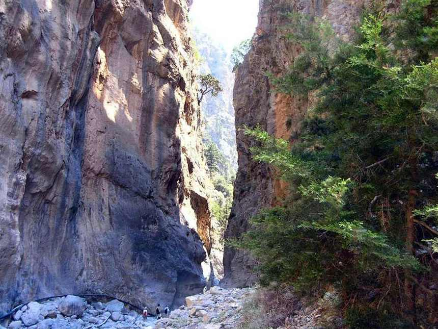 The steep walls of Samaria Gorge, Crete Greece