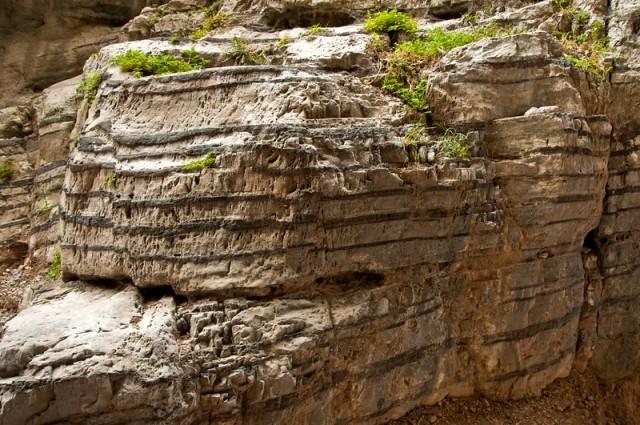 Sedimentary limestone rock layers in Imbros Gorge, Crete (image by Graeme Churchard)