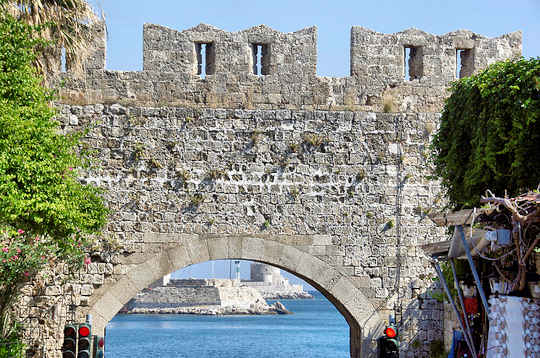 Crete to Rhodes - Looking through the Gate of Rhodes Old Town (image by Bruce Harlick)