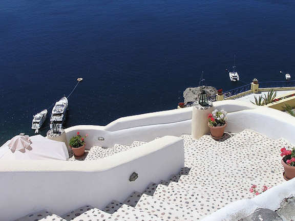 Crete Greece - Santorini white buildings and the deep blue of the Mediterranean