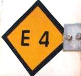 E4 European Walking Path - Yellow and Black Marker