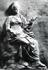 Ancient Greek Art depicting music - Mantineia Base frescoes, illustrating the pandoura