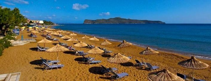 Chania Beaches with sand and sun loungers