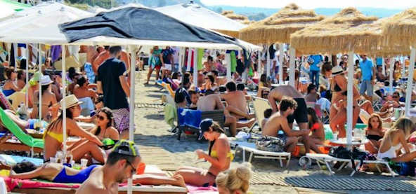 Busy summer buzz at the beach in Crete