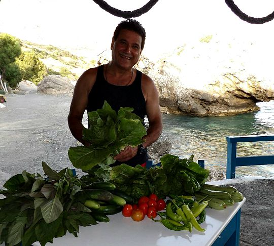 Freshest produce at the taverna in south Crete