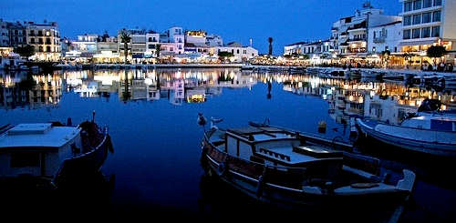 Agios Nikolaos, Lake Voulismeni in the evening, Crete
