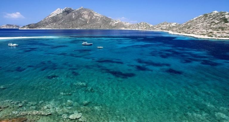 Agios Pavlos Beach with Nikouria Island in the background - Amorgos Greece