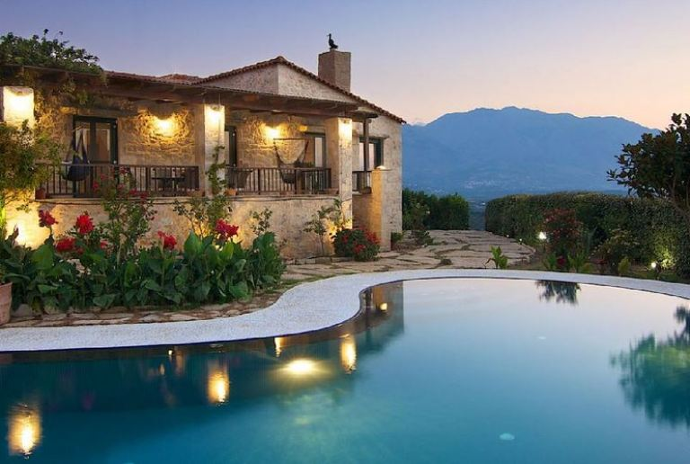 Alexis Villa near Filaki in Crete - showing the pool and exterior of the tradtional stonework