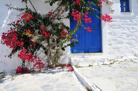 A quiet village street in Amorgos, Greece