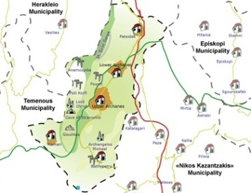 Map of Fourni forest, Silamiano Gorge and Mount Giouktas