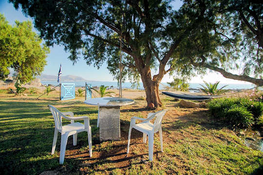Arodamos House sits directly on beachfront at Falasarna, Crete