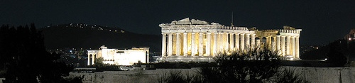 The acropolis of Athens at night