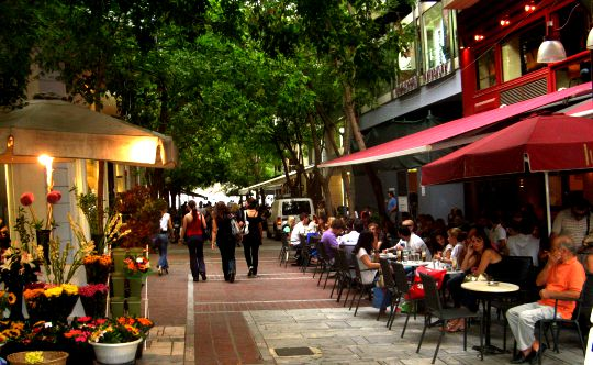 Cafes downtown - corner of Ermou and Evangelistrias