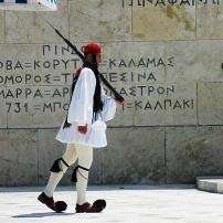 Athens Greece - Evzone guards the tomb of the unknown soldier