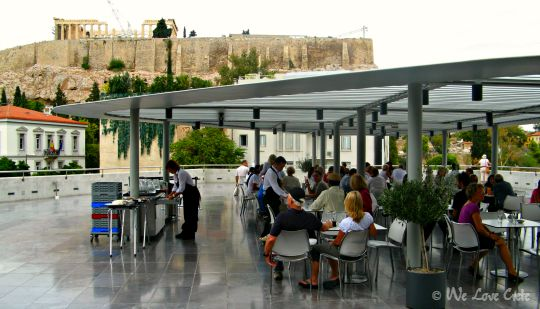See the Acropolis from the cafe on top of the Acropolis Museum