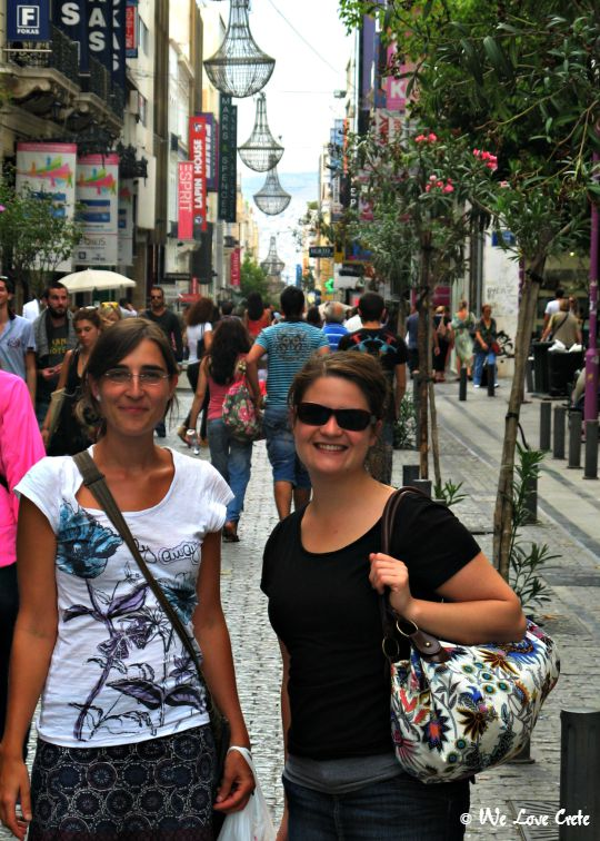 Strolling Ermou Street with friends