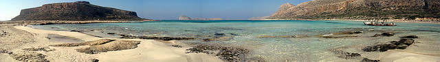 This is Balos Lagoon - with the island of Gramvousa on the left. A magical place, just near Kissamos. You can get there by boat.
