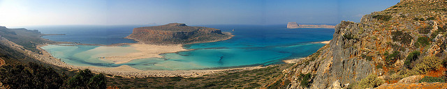 Balos Lagoon as seen from the main island of Crete is a myriad of colours blue, azure, turquoise and green (image by Alberto Perdomo)
