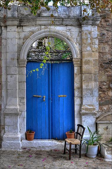 Blue Door, Crete (image by Romtomtom)