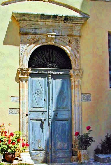 Pale blue door of Crete - Chania