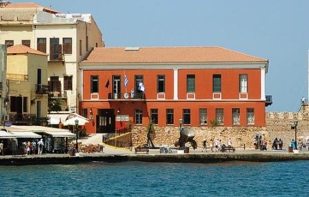 Chania in Crete - the ochre building is the Maritime Museum