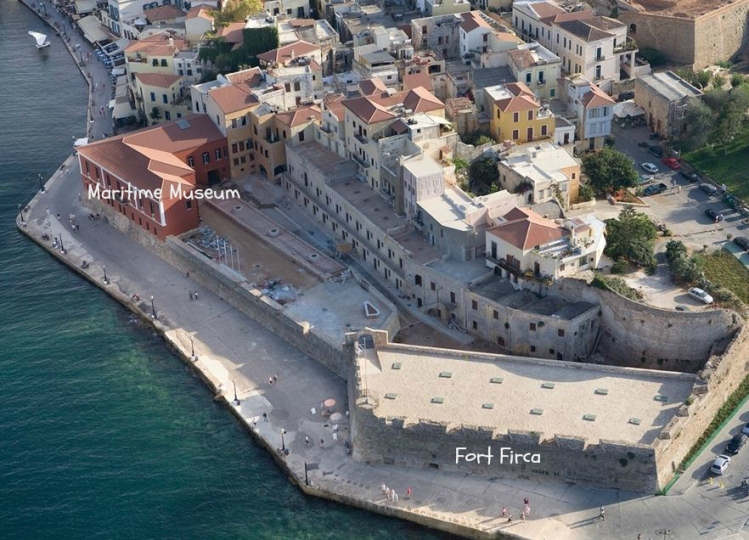 Chania Crete showing Fort Firca and the Maritime Museum