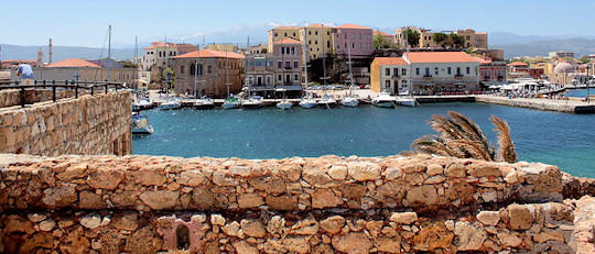 Looking back from the harbour wall to Chania old town