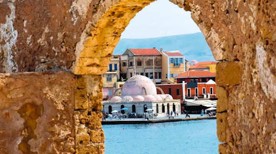 The Old Town of Chania as seen from the sea wall near the Venetian Lighthouse
