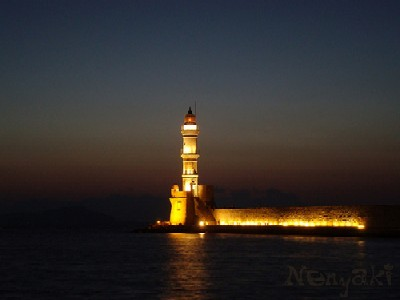 Chania Lighthouse at night, Crete
