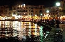 Chania harbour at night, Kriti