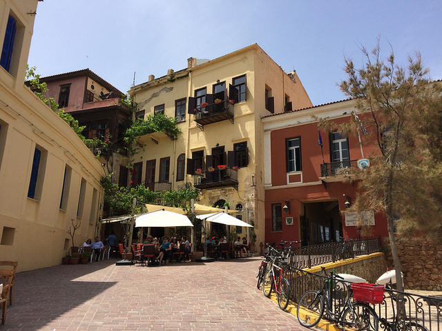 Visit the picturesque streets of the Old Town of Chania for coffee