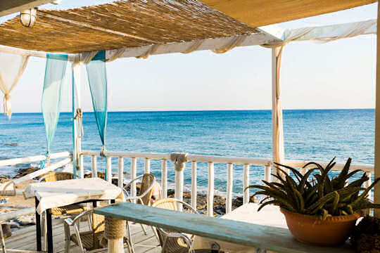 Relaxing at a seaside taverna - nothing gets better than this on the south coast of Crete