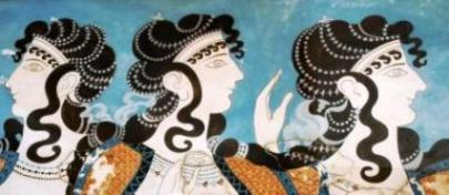 Minoan Fresco of Women in Blue from Knossos Palace