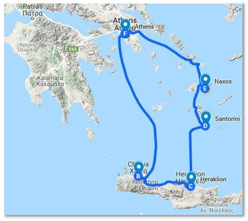 Crete Naxos Trip Ideas Map
