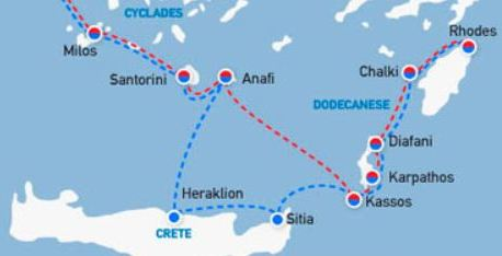 Map of Crete to Rhodes ferry routes