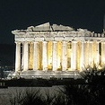 Parthenon in Athens, Greece lit up at night