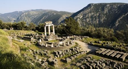 The ruins of the sanctuary at Delphi (image by Andrew Baldwin)