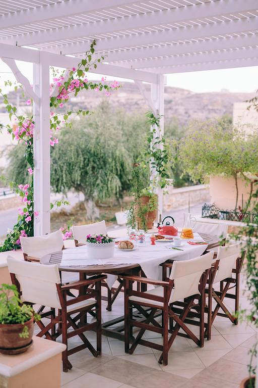 Eat on your own balcony at Dimitra Apartments in Pigadia, Karpathos
