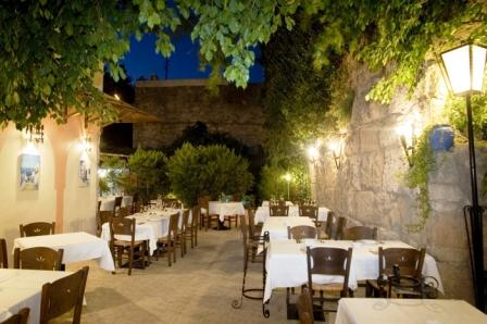 Restaurants in the old town of Rhodes