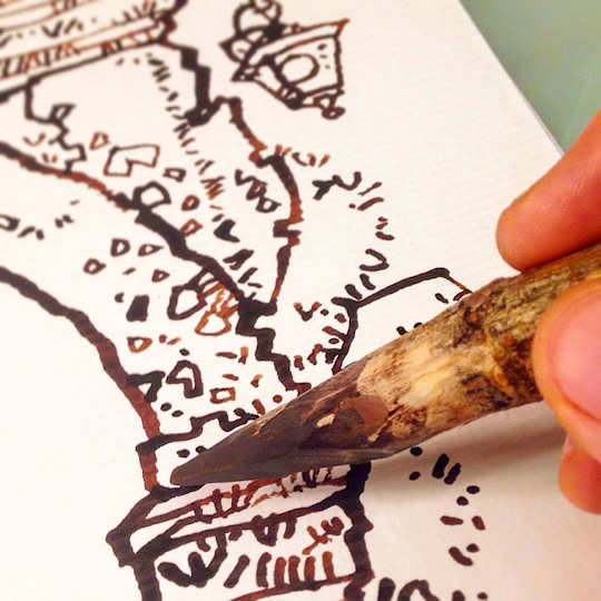 Dalius Art - twig pen and ink