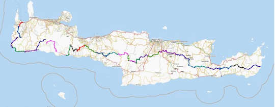 E4 walking path in Crete - overview