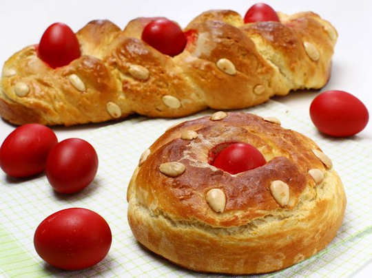 Greek Easter bread and eggs in Crete
