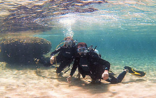Scuba lesson at Falasarna Beach, Crete