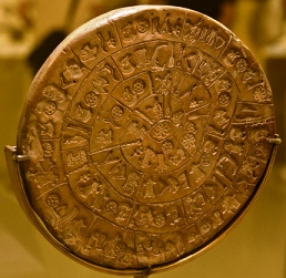 The Phaistos Disc was found 8 km south of the town of Mires (image by Tranchis)