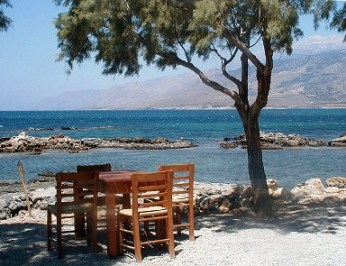 Looking out from Flisvos Taverna - dine by the water